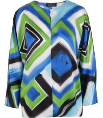 brushed blue/light green/black silk geometric-print silk blouse