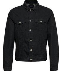 ams blauw trucker jacket - organic cotton - clean black jeansjacka denimjacka svart scotch & soda