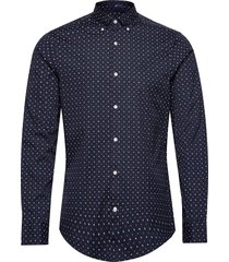d1. micro scribble print slim bd overhemd casual blauw gant