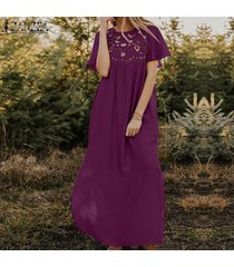 zanzea las mujeres de manga corta con estampado floral vestido largo kaftan vestidos maxi floja ocasional -rojo