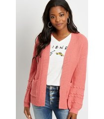 maurices womens solid bobble sleeve open front cardigan pink