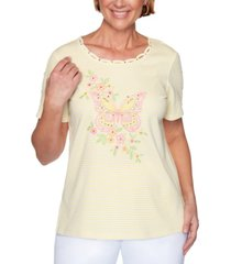alfred dunner spring lake striped embroidered top