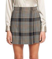 theory women's plaid wrap wool-blend mini skirt - black multi - size 00