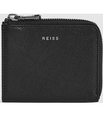 reiss patrick - leather zip around wallet in black, mens