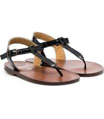 pèpè thong patent-leather sandals - black