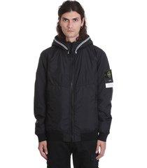 stone island casual jacket in black polyamide