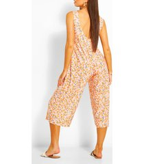 floral print scoop back culotte jumpsuit, orange