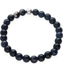 bracciale elastico con pietre e acciaio blu per uomo