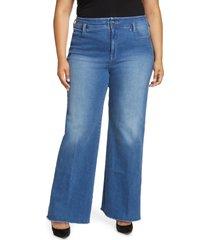 nydj teresa high waist raw hem wide leg jeans, size 18w in clean astr at nordstrom