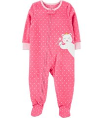 carter's baby girl 1-piece mouse fleece footie pjs