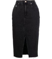 calvin klein jeans high-waisted denim skirt - black