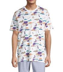 original penguin men's vacation-print t-shirt - bright white - size m