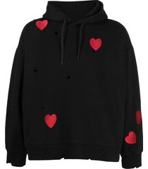 heart embroidered black hoodie