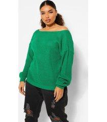 plus oversized trui met v-rug uitsnijding, bright green