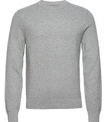 andy structure c-neck sweater stickad tröja m. rund krage grå j. lindeberg