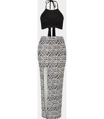 conjuntos de falda con estampado tribal y top corto