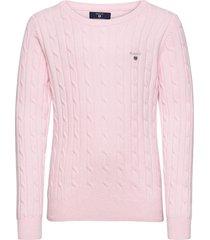 d1. stretch cotton cable crew pullover roze gant