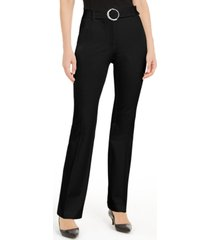 alfani petite belted wide-waistband trouser pants, created for macy's