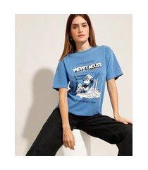 t-shirt de algodão mickey mouse manga curta decote redondo mindset azul