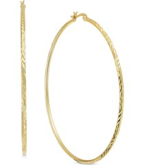 essentials extra large gold plated textured large hoop earrings