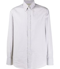 brunello cucinelli micro gingham patterned curved hem shirt - grey