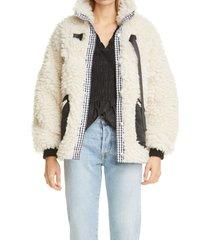 women's sandy liang seven faux shearling jacket, size small - white