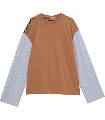 lange mouwen patchwork t-shirt
