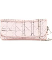 christian dior pre-owned rhinestone cannage shoulder bag - pink