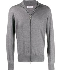 brunello cucinelli zip-up knit sweater - grey