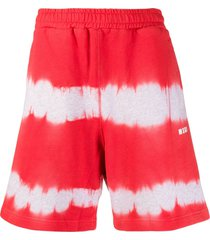 msgm tie-dye track shorts - red
