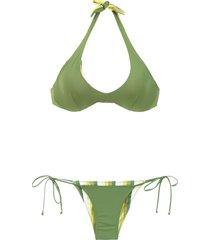 amir slama reversible bikini set - green