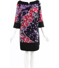 versace collection printed knee length dress