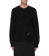 gauge knit distressed front hem sweater