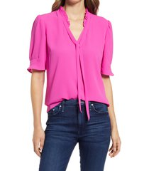 women's cece ruffle tie neck top, size small - pink