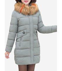 cappotto di pelliccia ispessito con collo in pelliccia