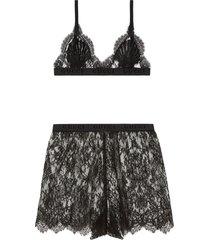 gucci floral lace lingerie set - black