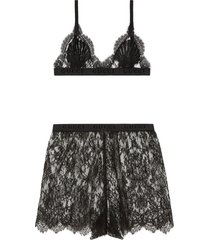 gucci floral lace lingerie set - black