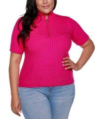 belldini black label plus size mock neck zip front ribbed short sleeve top