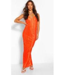 plisse strappy maxi dress, orange