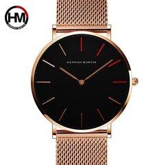 reloj de malla de acero inoxidable para hombre-dorado