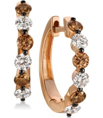 le vian chocolatier diamond hoop earrings (1-1/10 ct. t.w.) in 14k rose gold