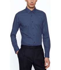 boss men's geometric-print slim-fit shirt