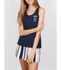pyjama's / nachthemden admas pajamas tank top kort summer stripes marine