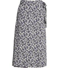 women's caslon faux wrap midi skirt, size x-large - grey