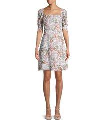 rebecca minkoff women's randy floral smocked a-line dress - white multi - size s