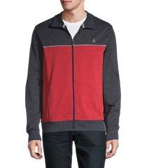 original penguin men's colorblock full-zip jacket - scarlet - size xl