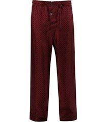 silk three-button pajama pants
