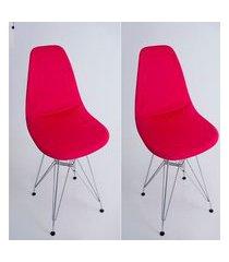 kit com 02 capas para cadeira base madeira eiffel wood vermelho