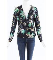 mary katrantzou silk knit cardigan black/green/floral print sz: