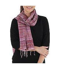 silk scarf, 'crimson iridescence' (thailand)